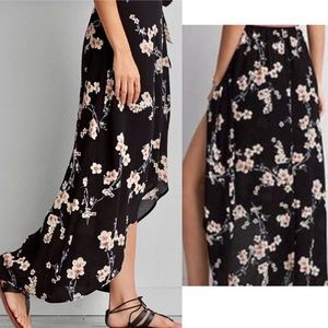 American Eagle black floral wrap maxi skirt